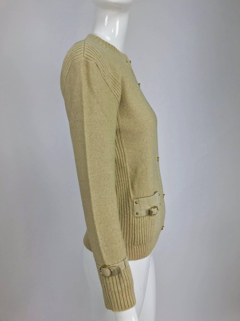 Magdeleine Poncet tan wool knit metal & ultra suede twin set 1970s For Sale 9