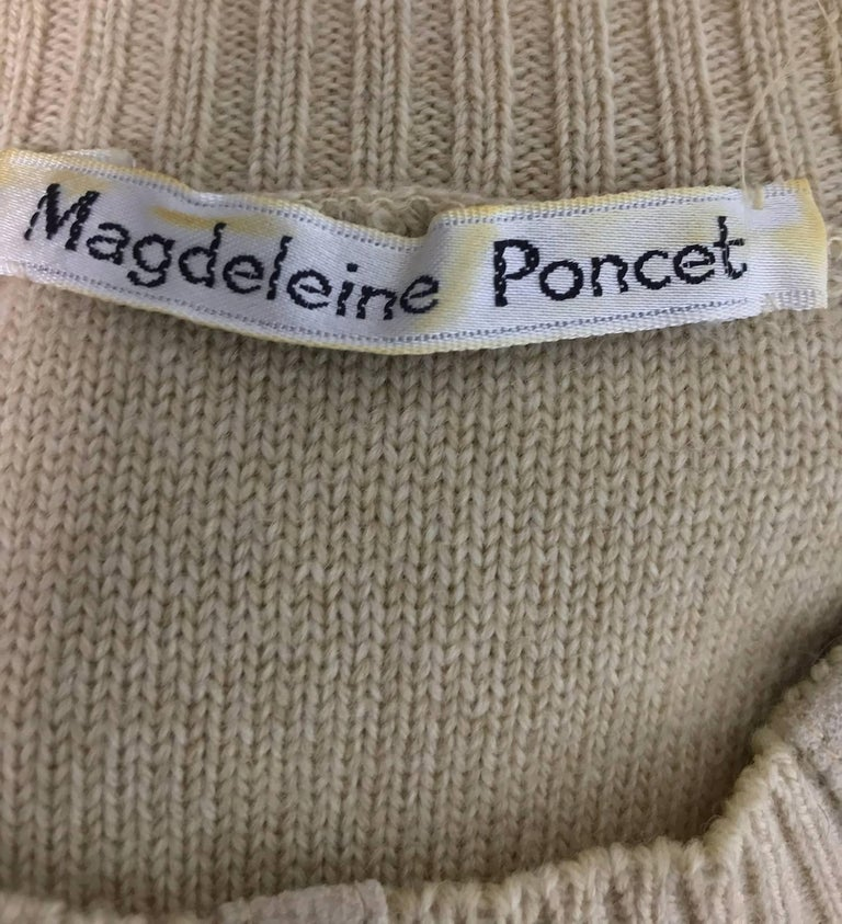 Magdeleine Poncet tan wool knit metal & ultra suede twin set 1970s For Sale 12