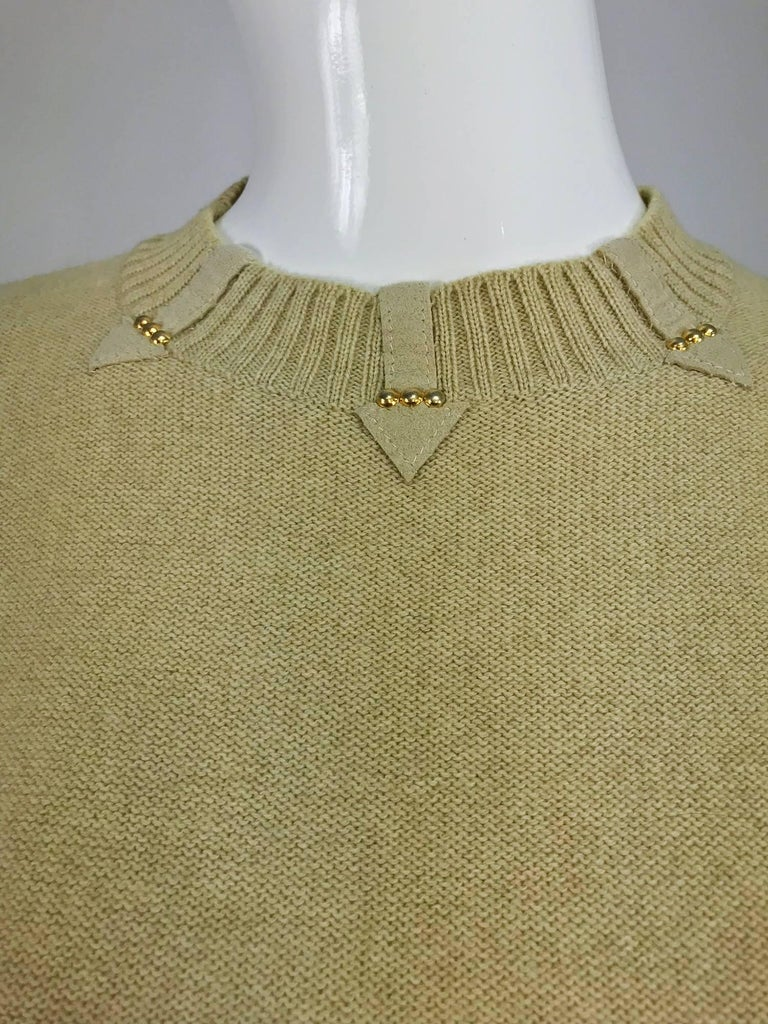 Brown Magdeleine Poncet tan wool knit metal & ultra suede twin set 1970s For Sale