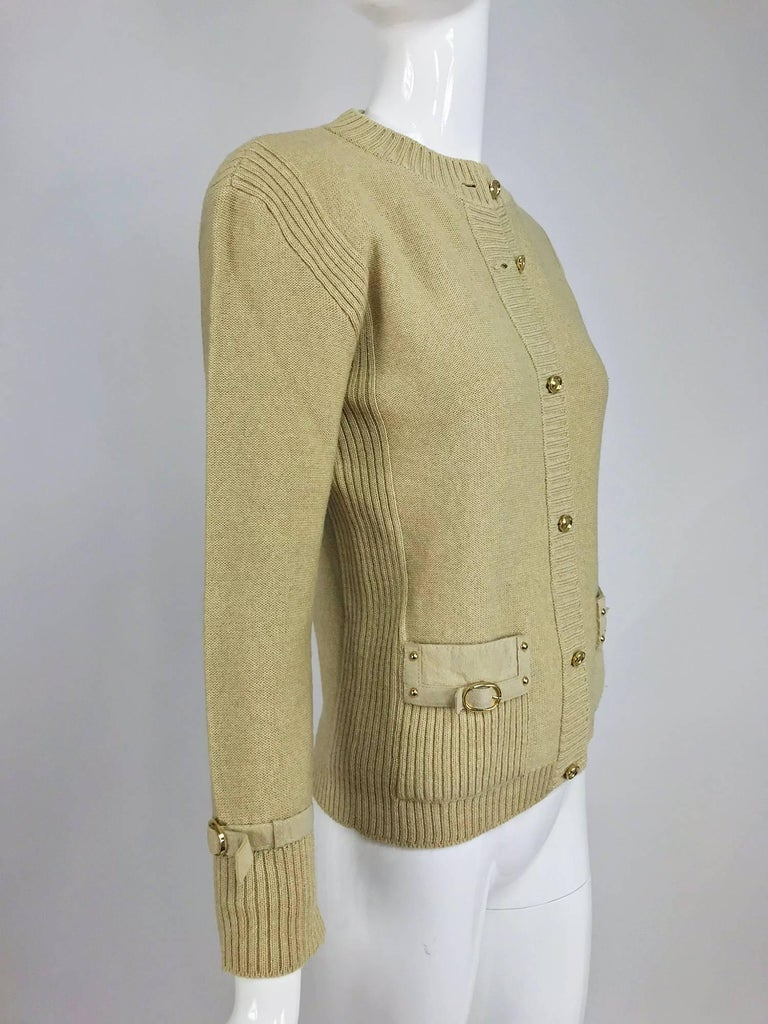 Magdeleine Poncet tan wool knit metal & ultra suede twin set 1970s For Sale 4