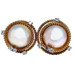 Mage Pearls .50 Carat Diamonds Clip Earrings 18 Karat Gold