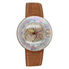 Magellan 1521 World Time Gold Watch Depicting Northern 3D Hemisphere, Automatic
