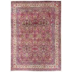 Magenta Antique Persian Lavar Kerman Rug with All-Over Floral Design
