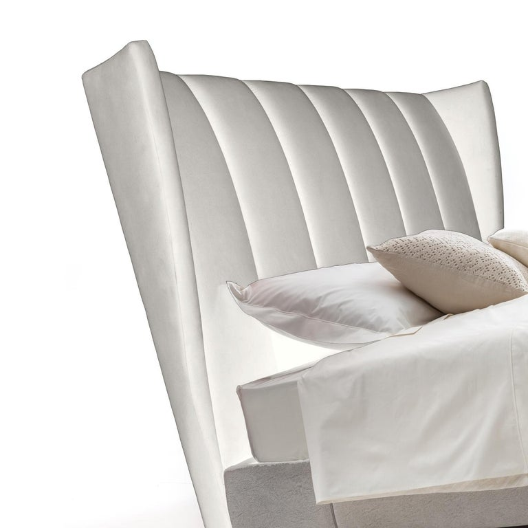 Italian White Magenta Bed by Luca Scacchetti, Made in Italy For Sale