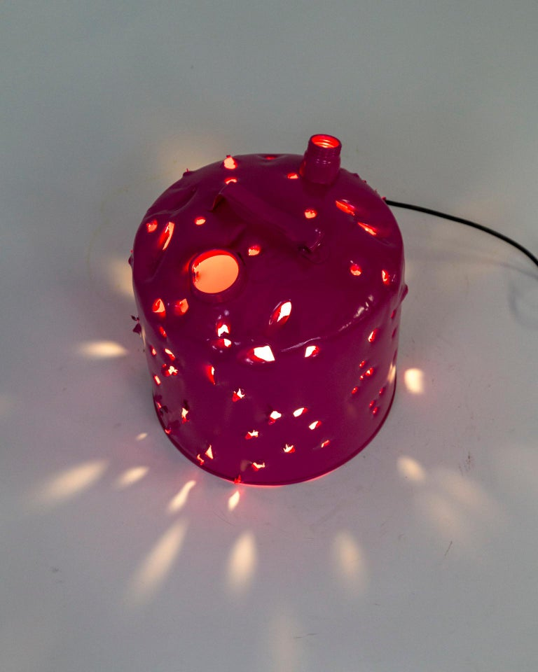 Powder-Coated Magenta Bullet Hole Gas Can Lamp by Charles Linder For Sale