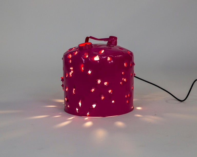 Magenta Bullet Hole Gas Can Lamp by Charles Linder In New Condition For Sale In San Francisco, CA