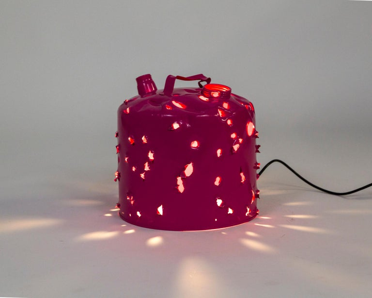 Contemporary Magenta Bullet Hole Gas Can Lamp by Charles Linder For Sale