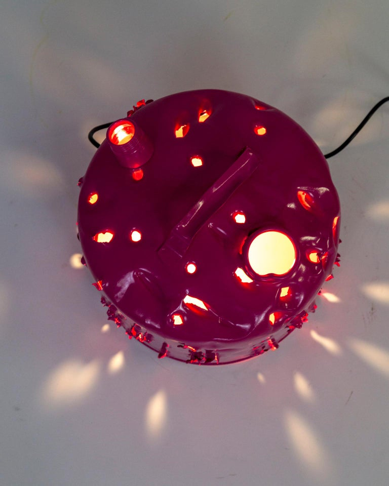 Metal Magenta Bullet Hole Gas Can Lamp by Charles Linder For Sale