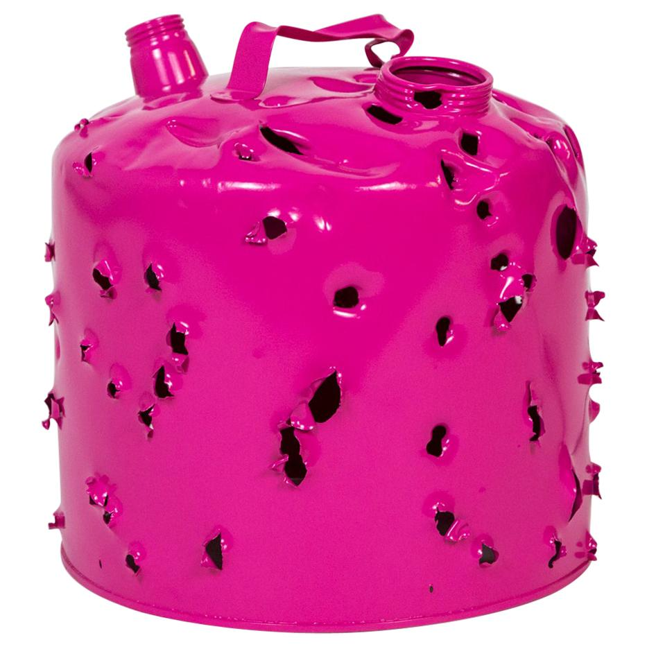 Magenta Bullet Hole Gas Can Lamp by Charles Linder