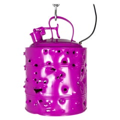 Magenta Bullet Holed Gas Can Light by Charles Linder