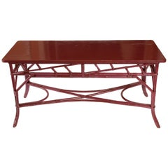 Magenta Painted Rattan Console