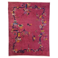 Magenta Pink Antique Chinese Art Deco Rug with Pictorial Chinoiserie Design