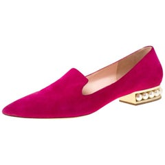 Magenta Suede Casati Faux Pearl Heel Pointed Toe Loafers Size 40