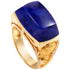 Magerit Babylon 18 Karat Gold Diamond and Lapis Lazuli Cocktail Ring