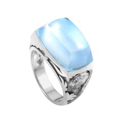 Magerit Babylon 18 Karat Gold Diamond and Topaz Mother of Pearl Ring