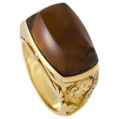 Magerit Babylon Caramelo 18 Karat Gold Diamond and Smoky Quartz Cocktail Ring
