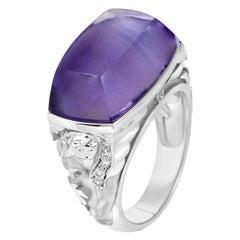 Magerit Babylon Caramelo 18 Karat White Gold Diamond and Amethyst Ring