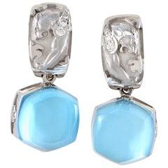 Magerit Babylon Caramelo Mini 18 Karat Gold Diamond and Topaz Dangle Earrings