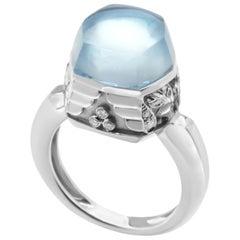Magerit Babylon Caramelo Mini 18 Karat White Gold 0.12 ct Diamond and Topaz Ring