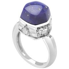 Magerit Babylon Caramelo Mini 18 Karat White Gold Diamond and Lapis Ring