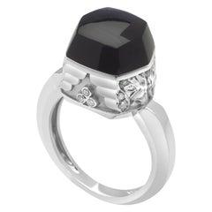 Magerit Babylon Caramelo Mini 18 Karat White Gold Diamond and Onyx Ring
