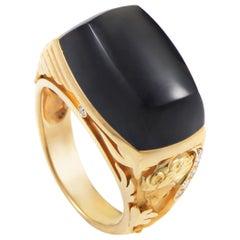 Magerit Babylon Caramelo Mini Women's 18 Karat Yellow Gold Diamond and Onyx Ring