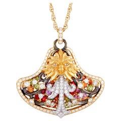 Magerit Fuente Big Versailles 18 Karat Yellow Gold Diamond, Peridot and Sapphire