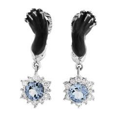 Magerit Instinto Custodia 18 Karat White Gold Diamond and Aquamarine Earrings