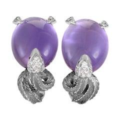 Magerit Mythology 18 Karat Gold Diamond and Amethyst Snake Earrings