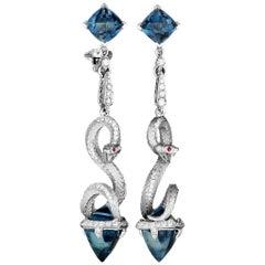 Magerit Mythology Snake Long 18 Karat Gold Diamond, Red Sapphire and London Top
