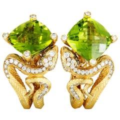 Magerit Mythology Snake Rombo 18 Karat Gold Diamond, Pink Sapphire and Peridot