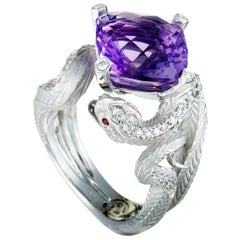 Magerit Mythology Snake Rombo White Gold Diamond, Red Sapphire and Amethyst Ring