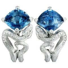 Magerit Mythology Snake Rombo White Gold Diamond Red Sapphire and Topaz Earrings