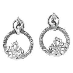 Magerit New Fire 18 Karat White Gold 0.29 Carat Diamond Loop Earrings