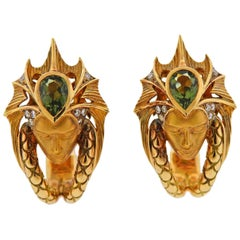 Magerit Sirena Escama Diamond Tourmaline Gold Earrings