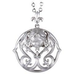 Magerit Versailles Angelito 18 Karat White Gold Round Pendant Necklace