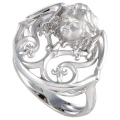 Magerit Versailles Angelito 18 Karat White Gold Round Ring