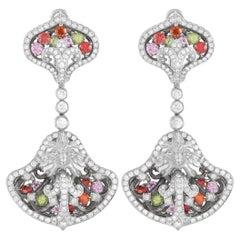 Magerit Versailles Fuente Big 18K White Gold 2.74 Ct Diamond, Peridot, Sapphire