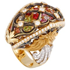 Magerit Versailles Fuente Big Yellow Gold Diamond, Sapphire and Peridot Ring