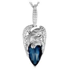 Magerit Vitral Gargola Tear White Gold Diamond and London Topaz Pendant Neck