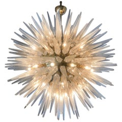 Magestic Italian Glass and Brass Sputnik Chandelier
