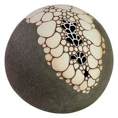 Maggie Barnes Carved & Pierced Organic 'Sphere' Stoneware Art Pottery Sculpture