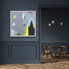 Blue Smoke, Maggie LaPorte Banks, Original Abstract Painting, Grey Art