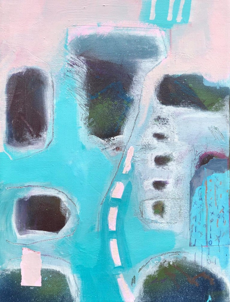 Maggie LaPorte Banks, At the Edge of the Sea, Original Bright Abstract Painting For Sale 4