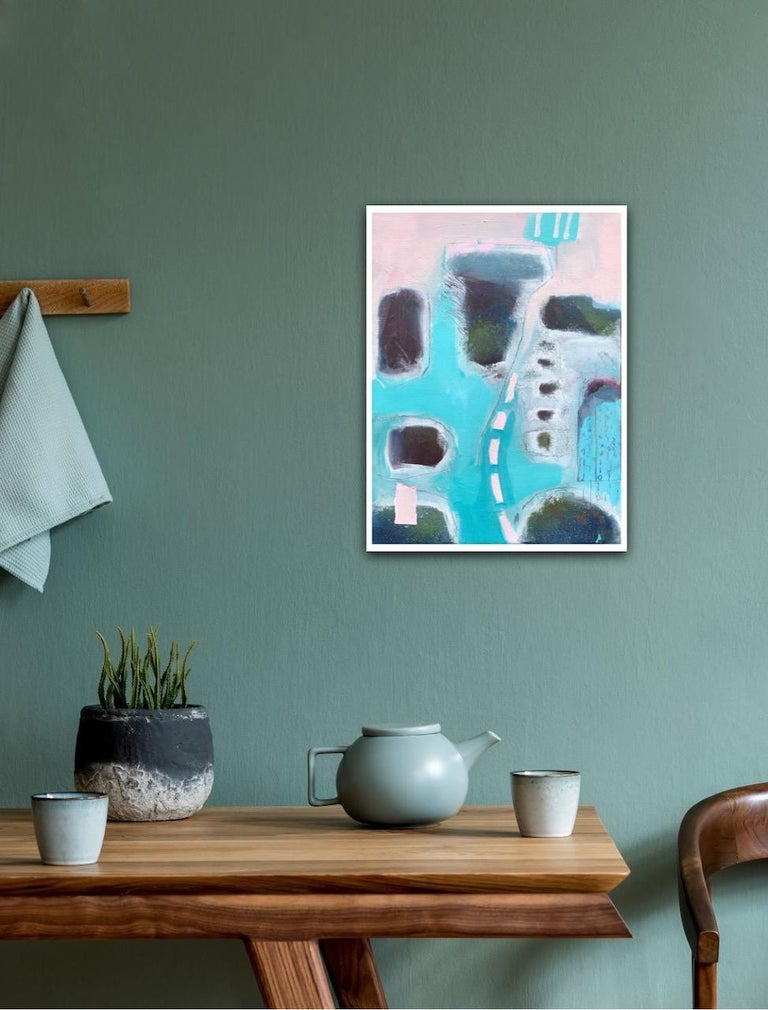 Maggie LaPorte Banks, At the Edge of the Sea, Original Bright Abstract Painting - Gray Interior Painting by Maggie LaPorte Banks