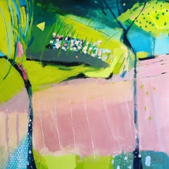 Maggie LaPorte Banks, Pink Ploughing, Original Abstract Painting, Bright Art