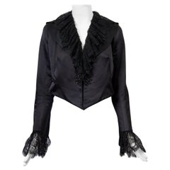 Maggie Norris Couture Black Satin Jacket with Beading and Lace