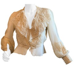 Maggie Norris Couture Contemporary Blouse with Antique Lace and Embroidery