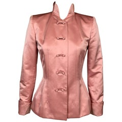 Maggie Norris Couture Pink Silk Satin Jacket