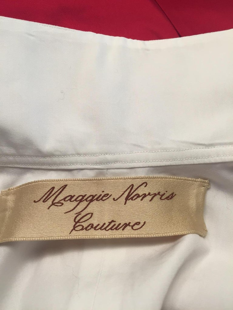 Maggie Norris Couture White Cotton Tuxedo Dress with Red Silk Cummerbund For Sale 6